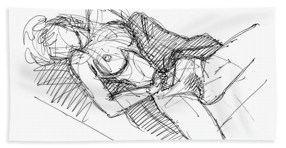 Erotic Renderings Bath Sheet featuring the drawing Erotic Art Drawings 7 by Gordon Punt