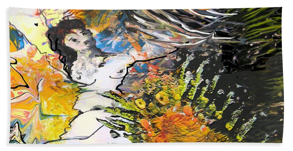 Miki Bath Sheet featuring the painting Erotype 07 2 by Miki De Goodaboom