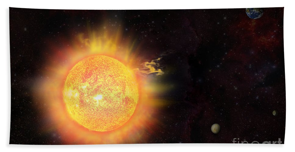 Sun Hand Towel featuring the digital art Eruption - Solar Storm by Michal Boubin