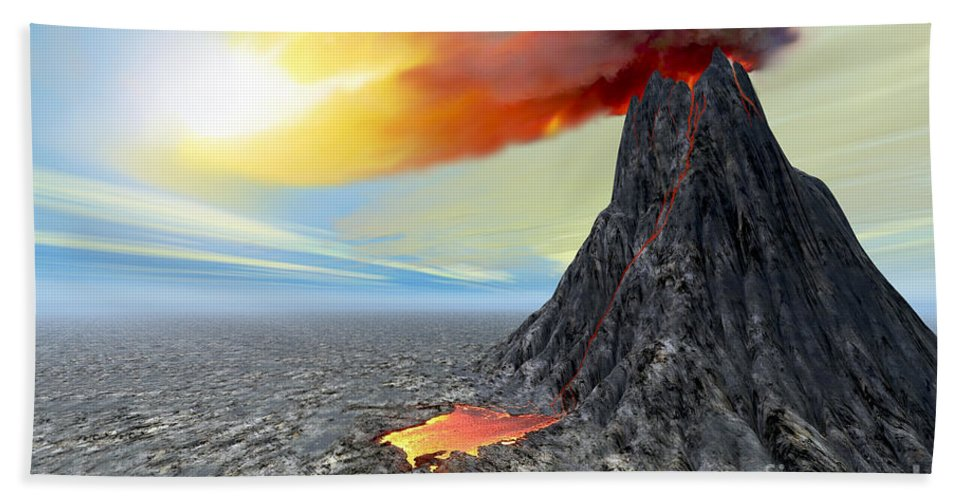 Volcanic Bath Sheet featuring the painting Eruption by Corey Ford