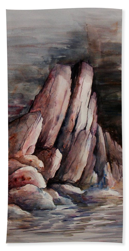 Landscape Hand Towel featuring the painting Eruption by Rachel Christine Nowicki