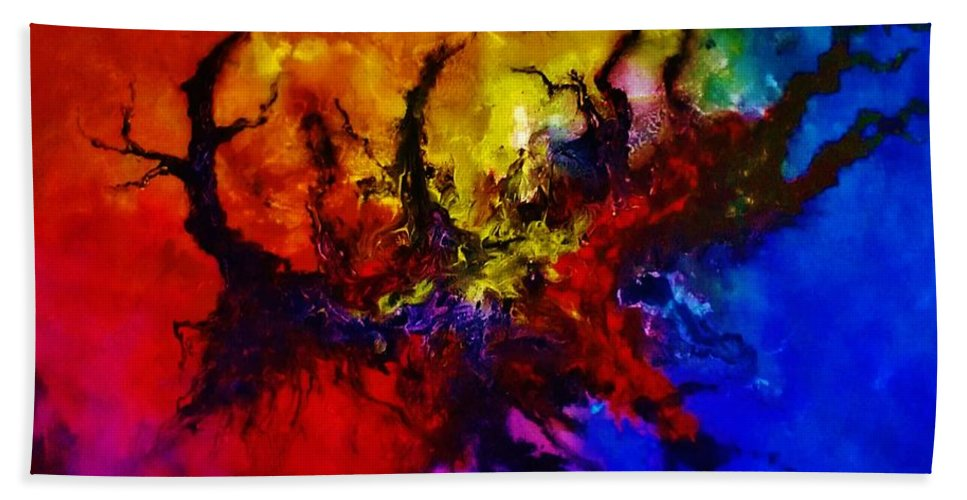 Acrylic Hand Towel featuring the painting Eruptive Force by John Cocoris