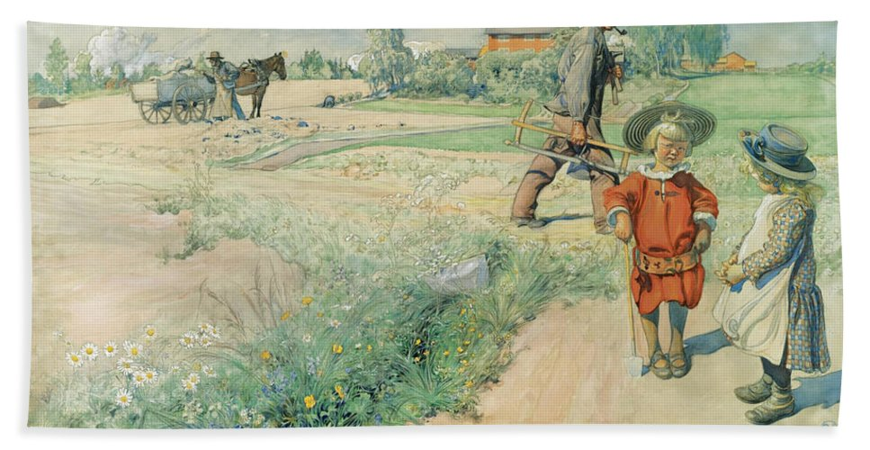 Carl Larsson Bath Towel featuring the drawing Esbjorn And The Farmer's Girl by Carl Larsson