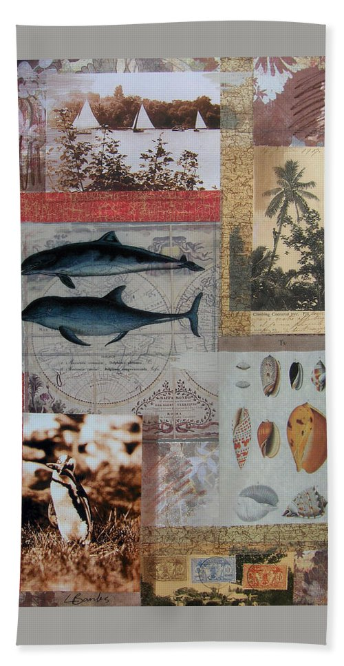 Travel Bath Sheet featuring the mixed media Escape And Explore Iv by Leigh Banks
