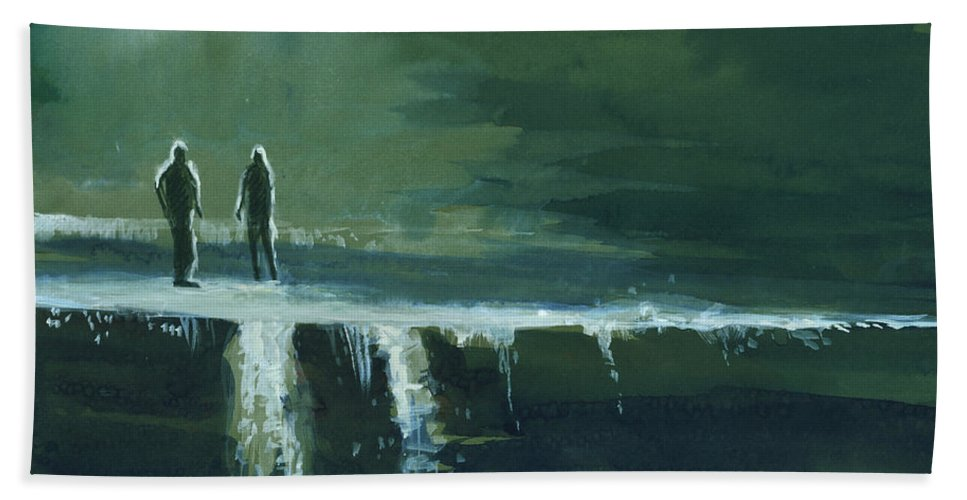 Jump Hand Towel featuring the painting Escape by Anil Nene