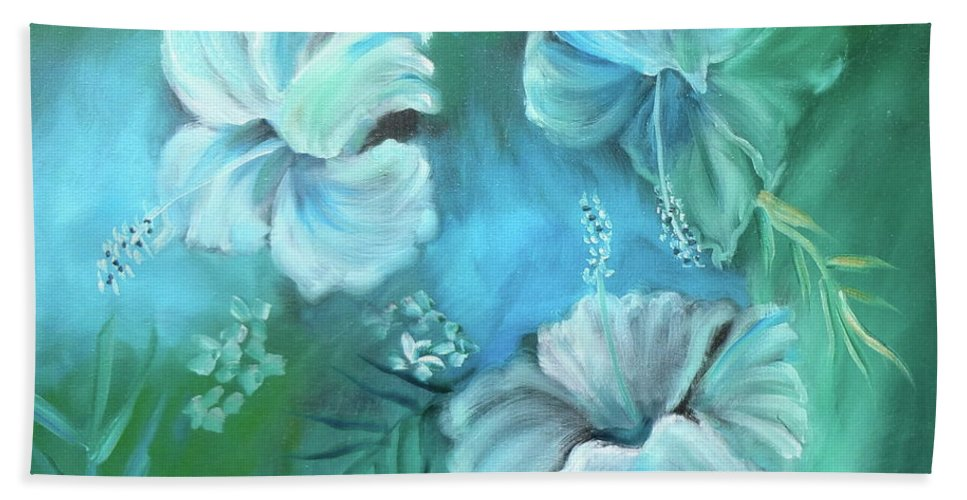 White Hibiscus Print Hand Towel featuring the painting Escape To Serenity by Jenny Lee