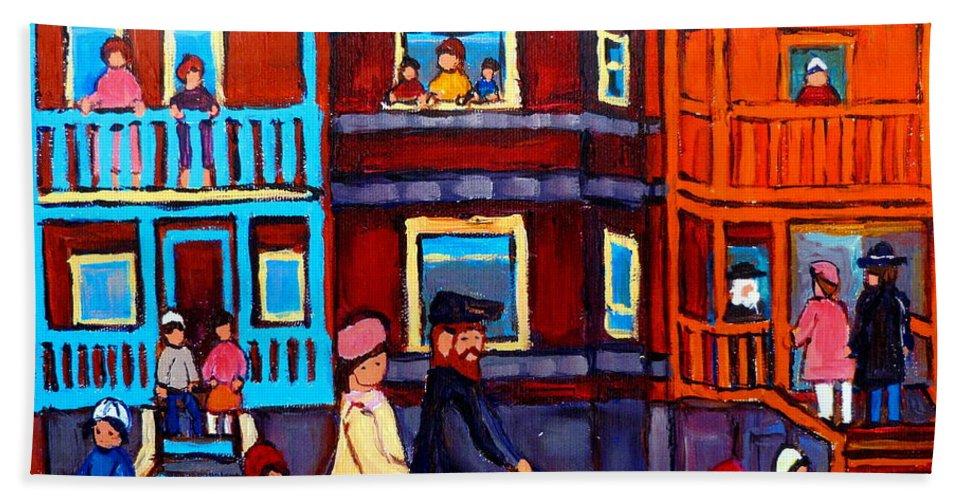 Esplanade Street Hand Towel featuring the painting Esplanade Street Sabbath Walk by Carole Spandau