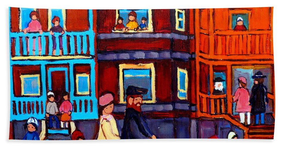 Esplanade Street Bath Towel featuring the painting Esplanade Street Sabbath Walk by Carole Spandau