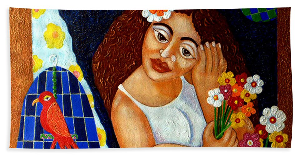 Eve Bath Towel featuring the painting Eternal Eve - II by Madalena Lobao-Tello