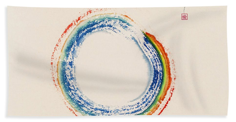 Enso Hand Towel featuring the painting Eternity by Diane Macdonald