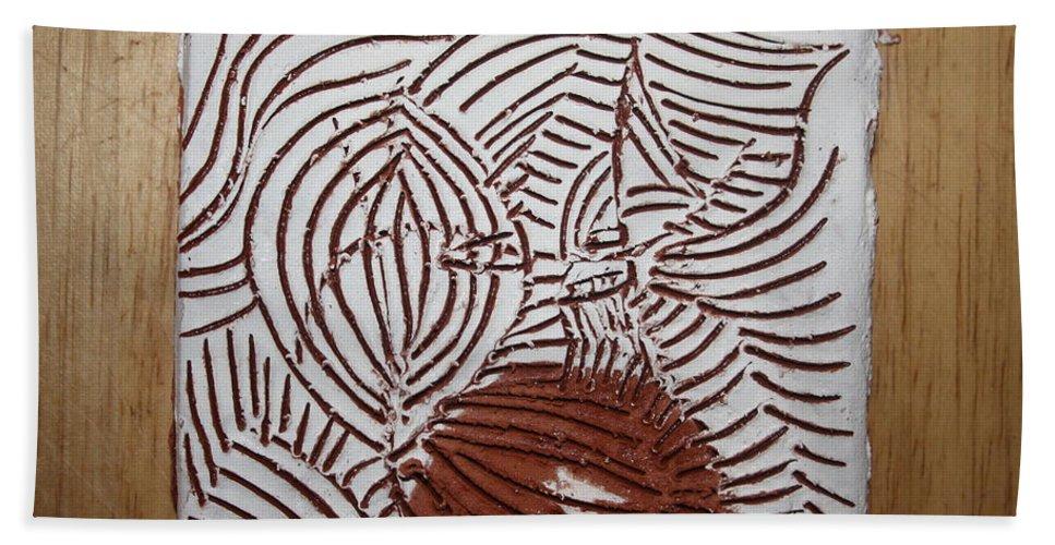 Jesus Hand Towel featuring the ceramic art Eto - Tile by Gloria Ssali