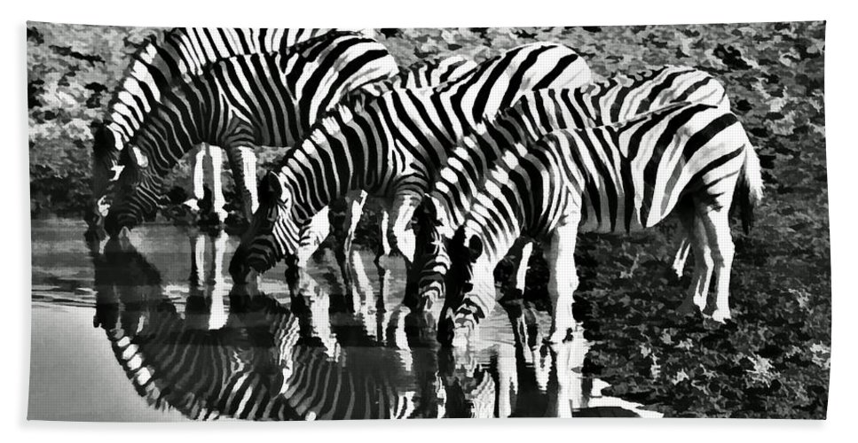 Namibia Hand Towel featuring the photograph Etosha Pan Reflections by Douglas Barnard