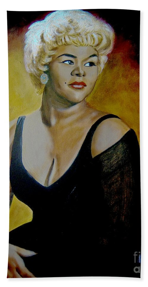 Legendary Hand Towel featuring the painting Etta James by Chelle Brantley