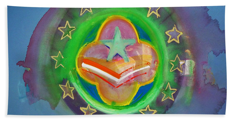 Symbol Bath Towel featuring the painting Euro Star And Stripes by Charles Stuart