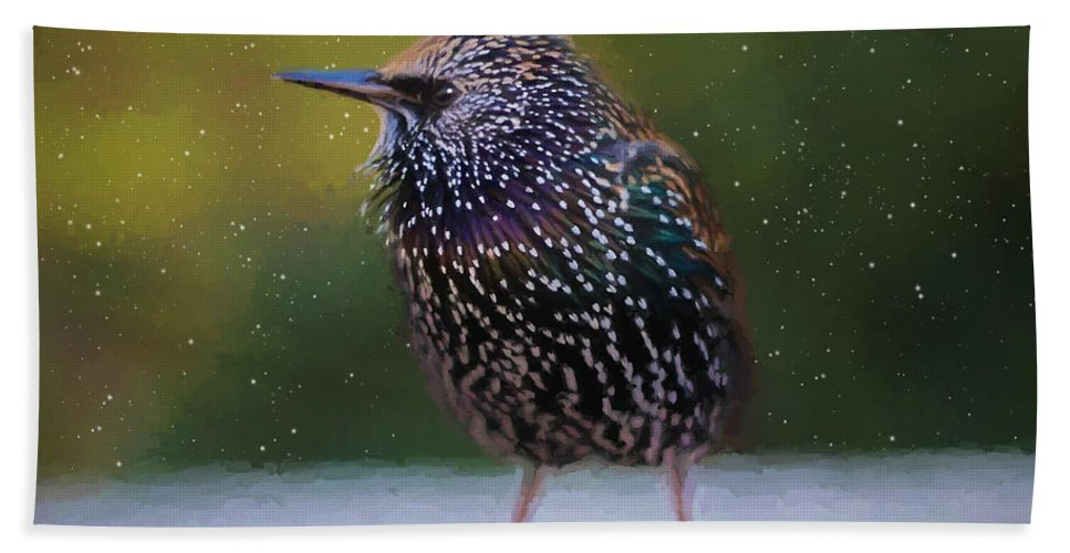 Starling Hand Towel featuring the painting European Starling - Painted by Ericamaxine Price