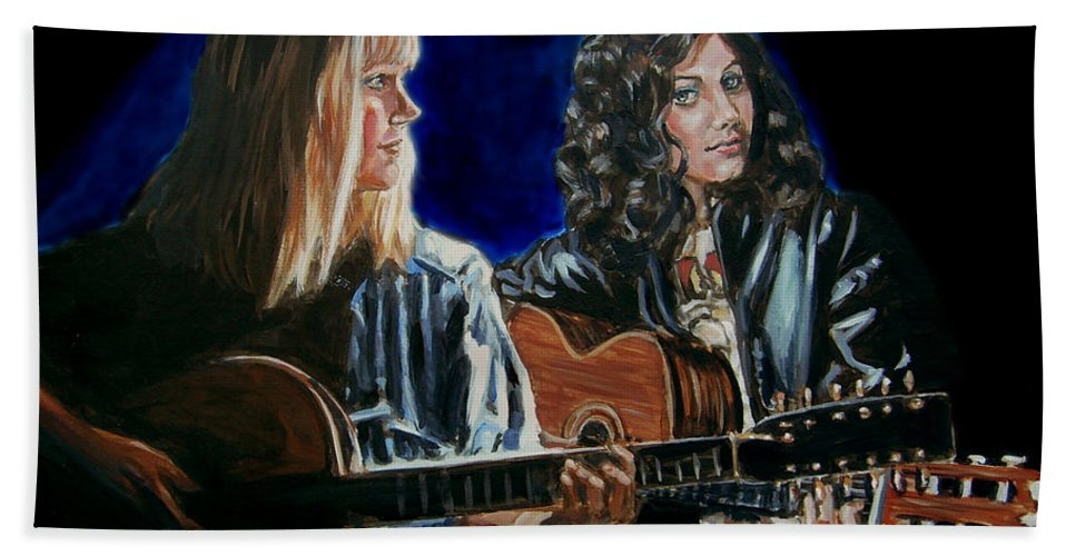 Katie Melua Bath Towel featuring the painting Eva Cassidy And Katie Melua by Bryan Bustard