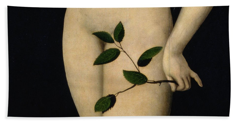 Nude; Garden Of Eden; Old Testament; Apple; Serpent; Fig Leaf; Close-up Bath Sheet featuring the painting Eve by The Elder Lucas Cranach