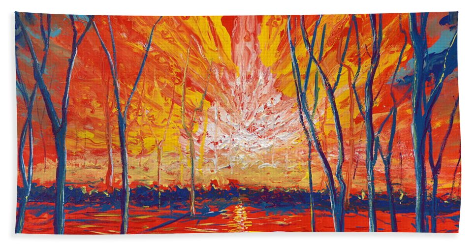 Contemporary Impressionism Hand Towel featuring the painting Even The Trees Get The Blues by Stefan Duncan