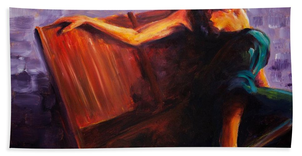 Figure Bath Towel featuring the painting Even Though by Jason Reinhardt