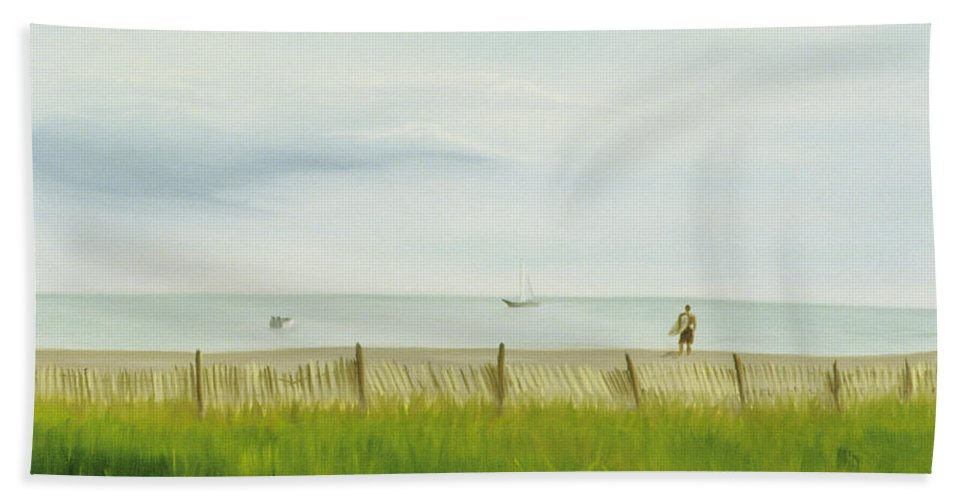 Seascape Bath Sheet featuring the painting Evening At Cape May by Lea Novak