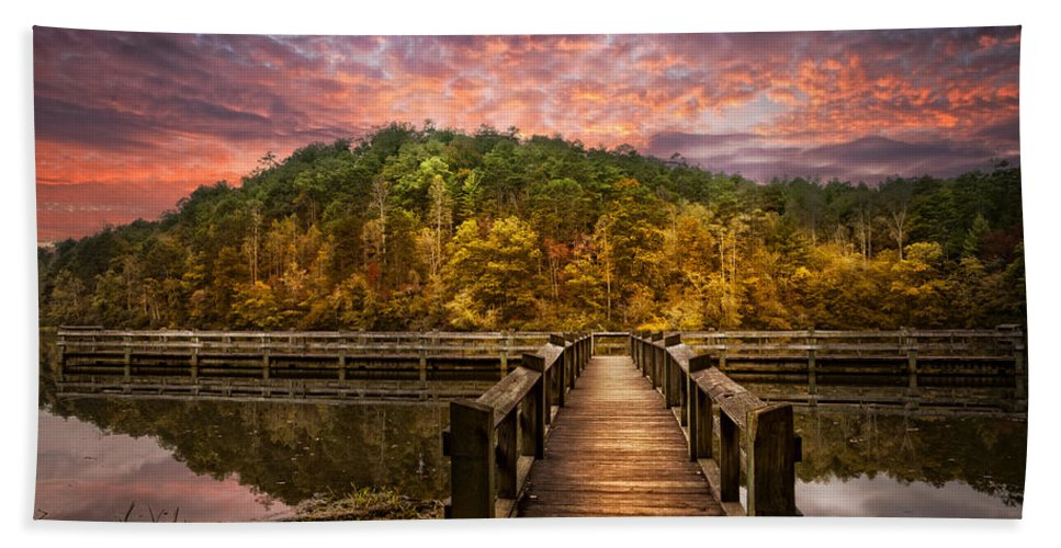 Appalachia Hand Towel featuring the photograph Evening At The Lake by Debra and Dave Vanderlaan