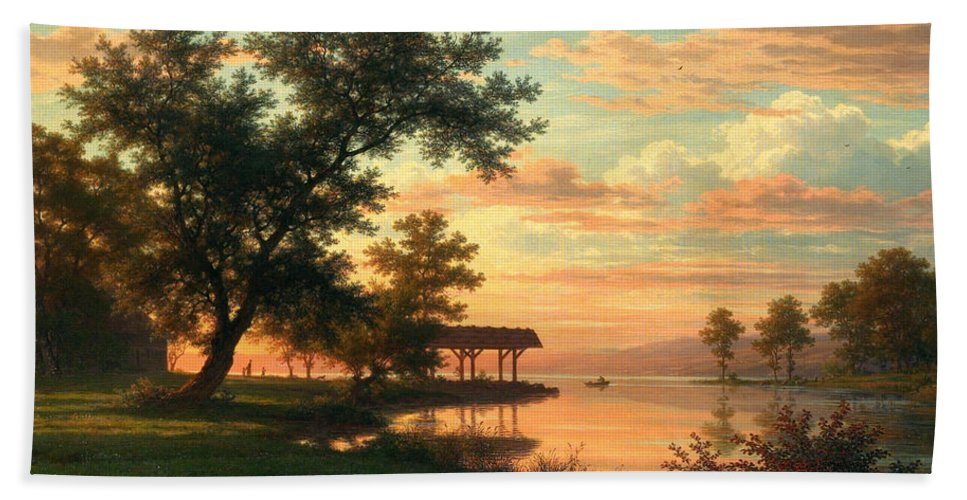 Robert Zuend Hand Towel featuring the painting Evening Atmosphere By The Lakeside by Robert Zuend
