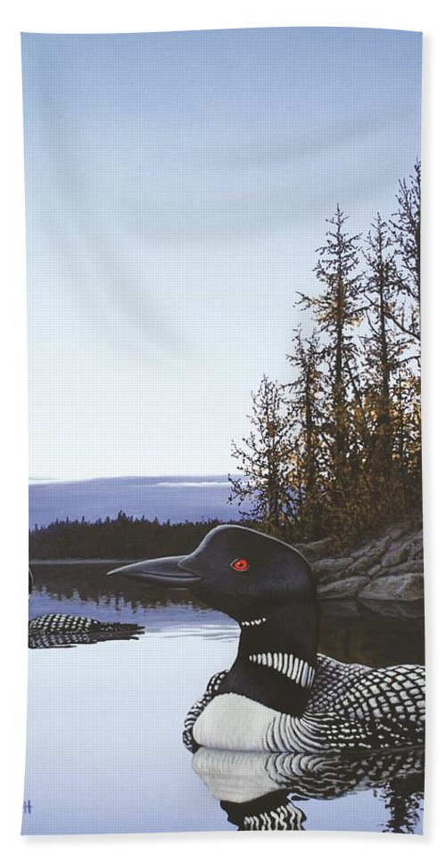 Loon Hand Towel featuring the painting Evening Call by Anthony J Padgett