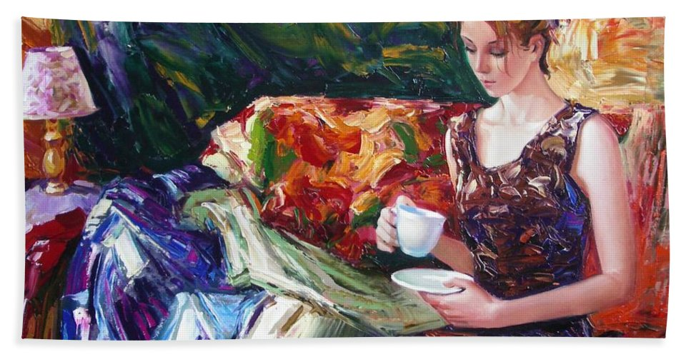 Figurative Hand Towel featuring the painting Evening Coffee by Sergey Ignatenko