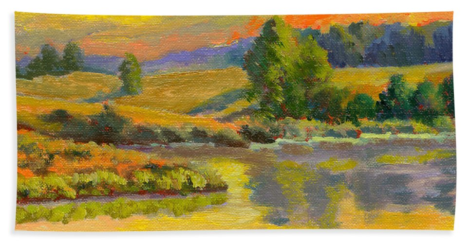 Landscape Bath Sheet featuring the painting Evening Color by Keith Burgess