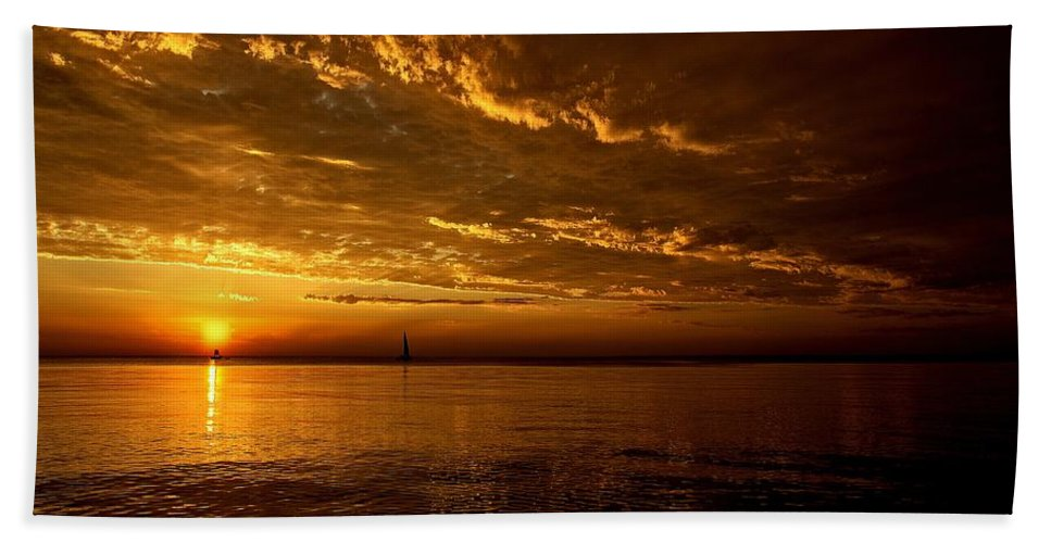 Lake Michigan Bath Sheet featuring the photograph Evening Drama by LuAnn Griffin