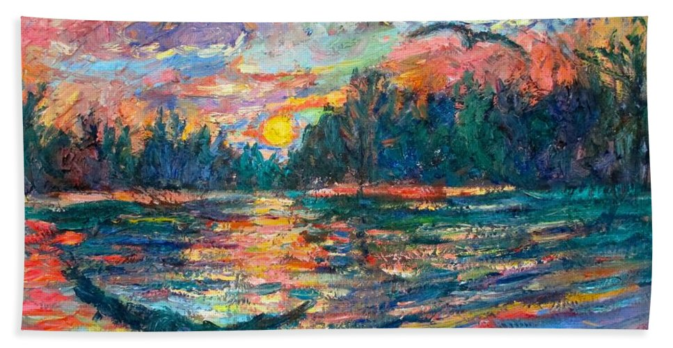 Landscape Bath Towel featuring the painting Evening Flight by Kendall Kessler