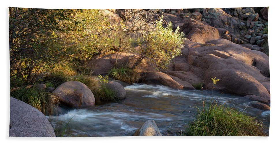 Arizona Hand Towel featuring the photograph Evening Flow With Light by Cathy Franklin
