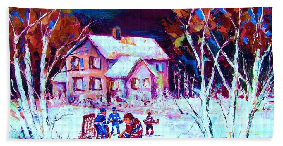 Hockey Game In The Country Bath Towel featuring the painting Evening Game At The Chalet by Carole Spandau