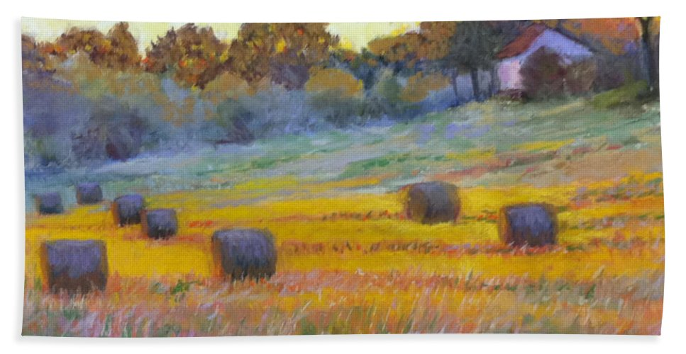 Landscape Hand Towel featuring the pastel Evening Glow by Julie Mayser