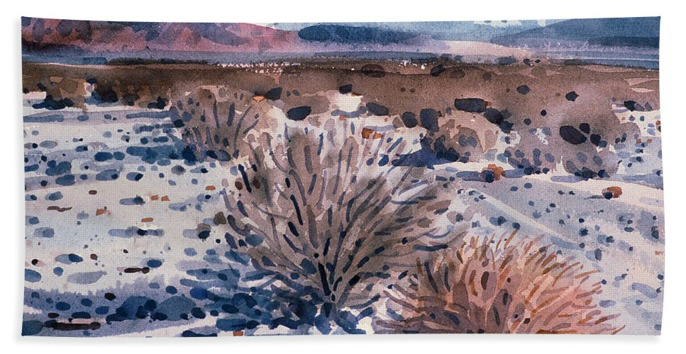 Sage Hand Towel featuring the painting Evening In Death Valley by Donald Maier