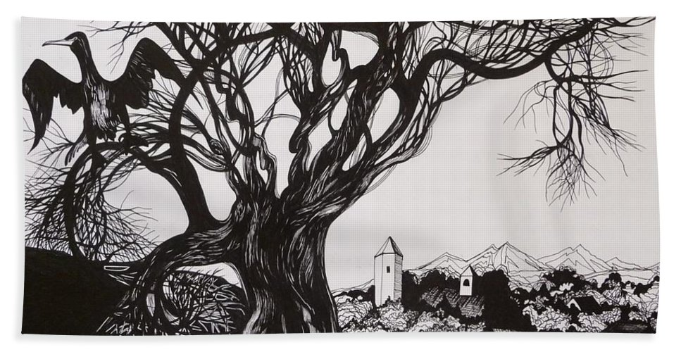 Pen And Ink Bath Towel featuring the drawing Evening In Midnapore by Anna Duyunova