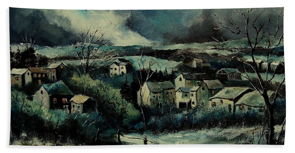 Village Hand Towel featuring the painting Evening Is Falling by Pol Ledent
