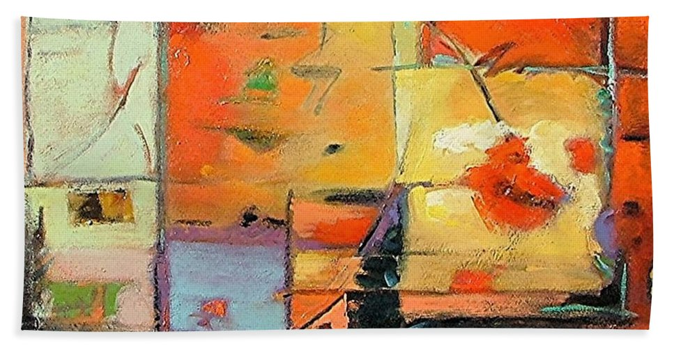 Abstract Painting Hand Towel featuring the painting Evening Light by Gary Coleman