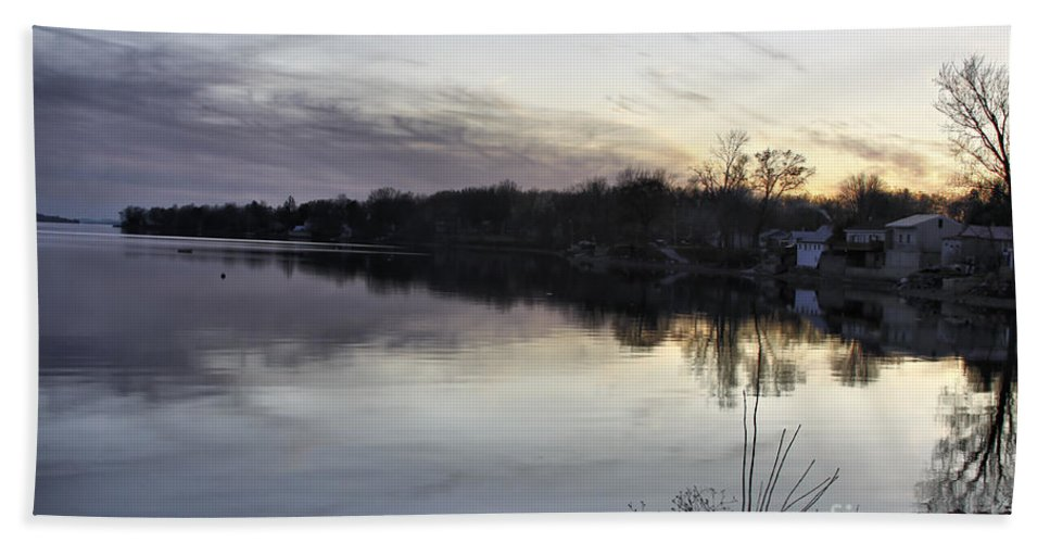 Lake Champlain Hand Towel featuring the photograph Evening Light On Lake Champlain by Deborah Benoit
