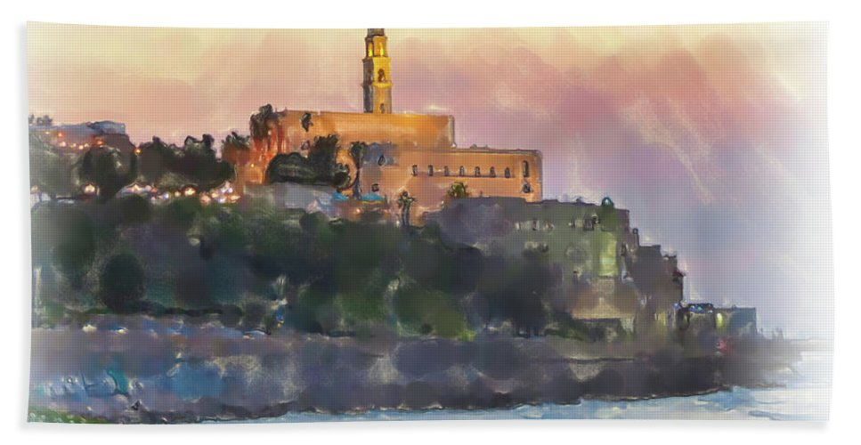 Jaffa Hand Towel featuring the painting Evening Mood In Jaffa by Harald Hillemanns