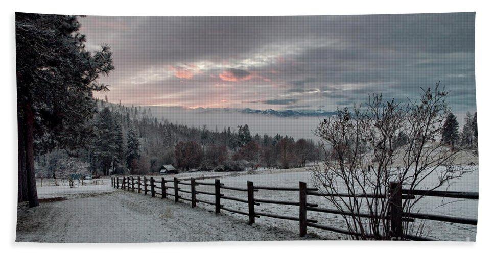 Mountains Bath Sheet featuring the photograph Evening Mountain Glow by Karen Goodwin