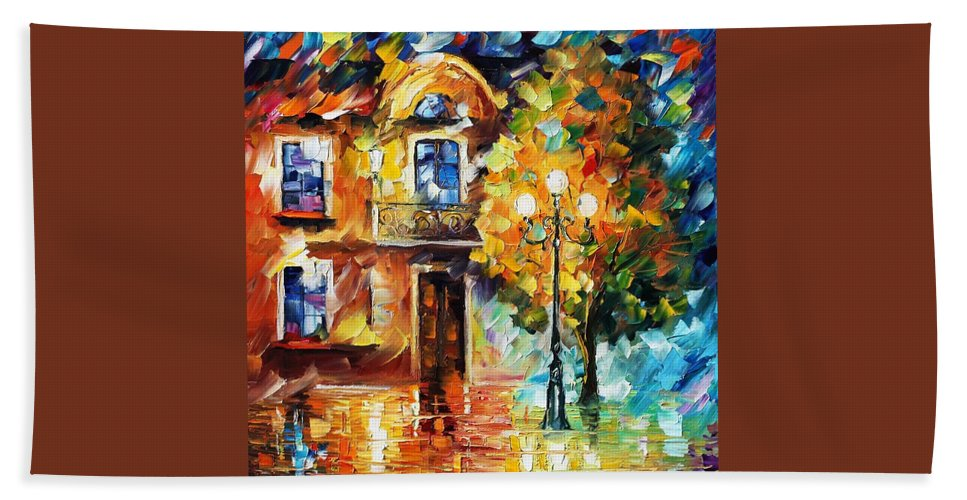 Afremov Bath Sheet featuring the painting Evening New Original by Leonid Afremov
