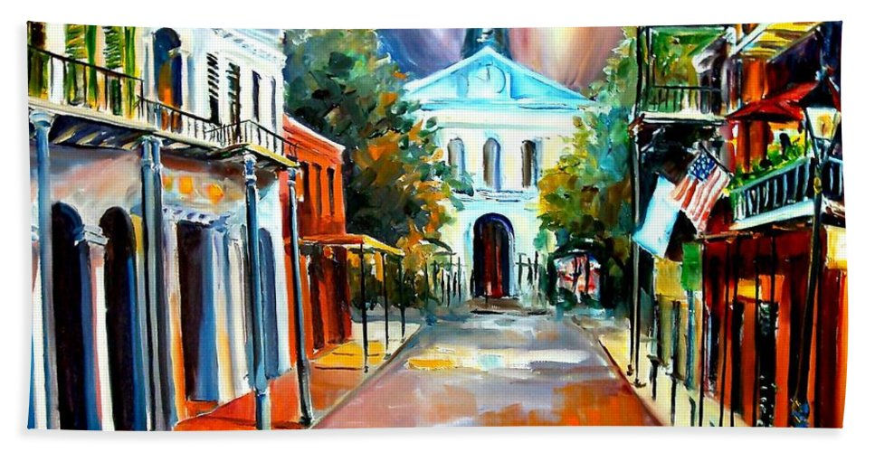 New Orleans Bath Sheet featuring the painting Evening On Orleans Street by Diane Millsap