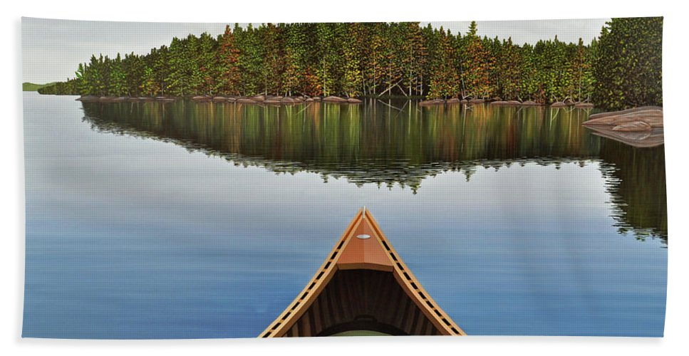 Landscapes Bath Towel featuring the painting Evening Paddle by Kenneth M Kirsch