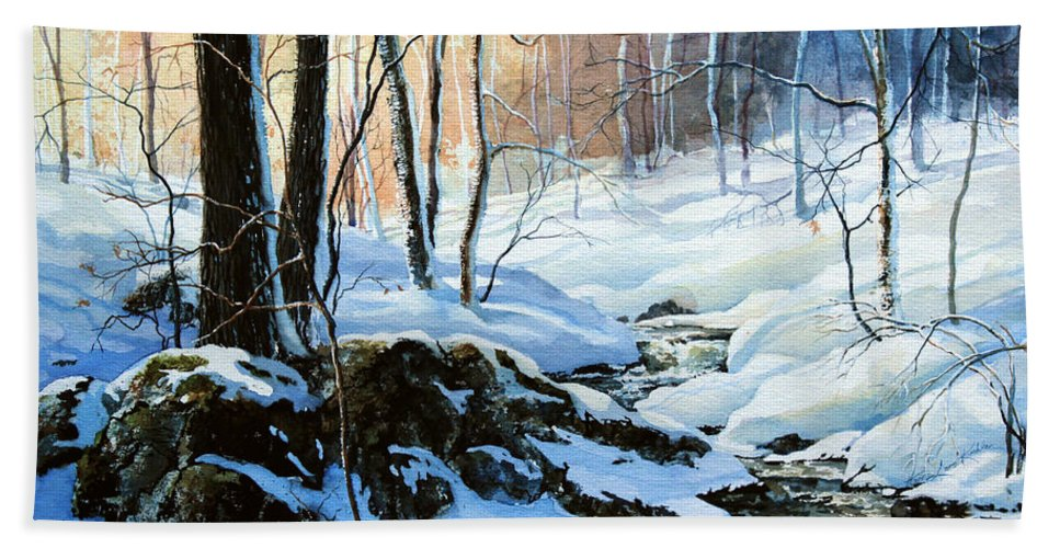 Winter Sunset Art Prints Hand Towel featuring the painting Evening Shadows by Hanne Lore Koehler