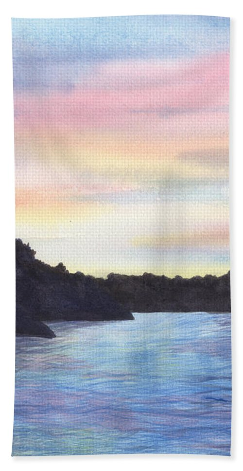 Sunset Bath Towel featuring the painting Evening Silhouette by Lynn Quinn