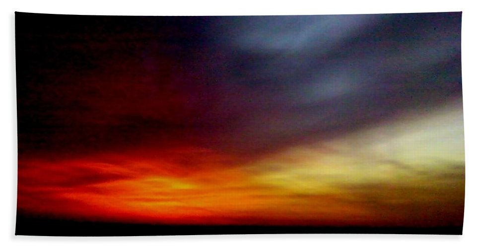 Sky Clouds Evening Burnt Red Blue Bath Sheet featuring the photograph Evening Sky 6 Burnt Sky by Cindy New