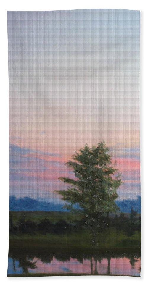 Landscape Bath Towel featuring the painting Evening Sky by Lea Novak