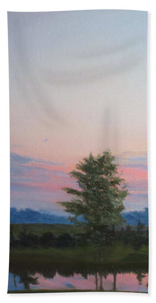 Landscape Bath Sheet featuring the painting Evening Sky by Lea Novak
