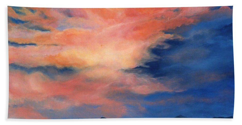 Twilight Bath Sheet featuring the painting Evening Sky by Melissa Joyfully